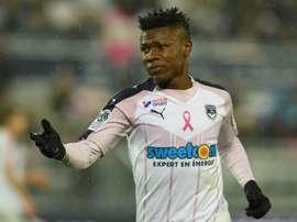 L'attaquant nigérian de Bordeaux Samuel Kalu lors de la réception de Nice. AFP