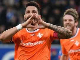 Le défenseur de Darmstadt Aytac Sulu buteur face à Hoffenheim, le 7 février 2016 à Sinsheim