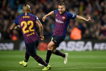 Le Barça avec Busquets, Braithwaite et Alba en Allemagne. AFP