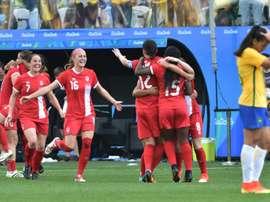 Les Canadiennes victorieuses du Brésil pour la 3e place du tournoi olympique. AFP