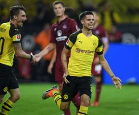Weigl celebrates scoring against Nuremberg. AFP