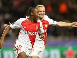 Sidibé explose de joie après son but avec Monaco contre Tottenham en Ligue des champions. AFP