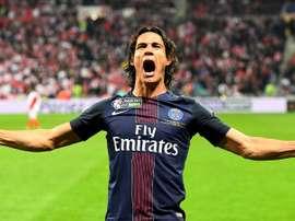 L'attaquant du PSG Cavani, auteur d'un doublé en finale de la Coupe de la Ligue contre Monaco. AFP
