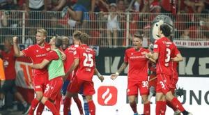 Les joueurs de l'Union Berlin lors de la victoire à domicile sur Dortmund 3-1. AFP