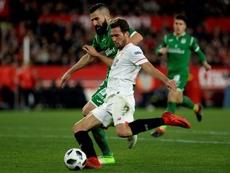 Franco Vazquez marque contre Leganes en demi-finale retour de la Coupe du Roi. AFP