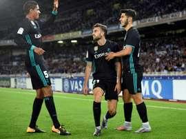 Le jeune attaquant du Real Madrid Borja Mayoral a marqué contre Real Sociedad. AFP