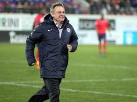 Le nouvel entraîneur de Montpellier Frédéric Hantz, vainqueur avec son équipe du Gazélec à Ajaccio, le 30 janvier 2016