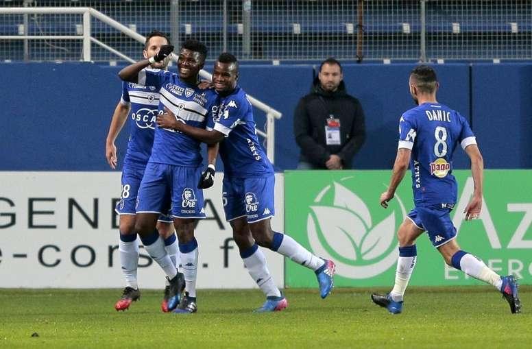Sadio Diallo firmó el único tanto del Bastia. AFP