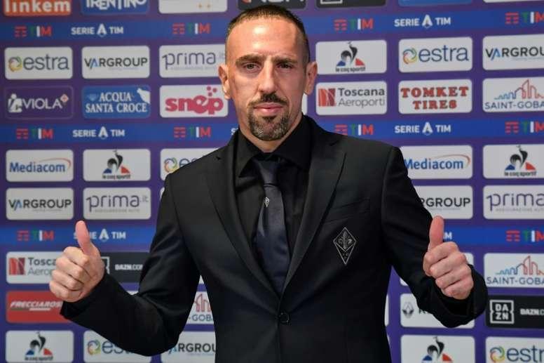 Franck Ribéry lors de sa présentation à la Fiorentina, le 22 août 2019 à Florence