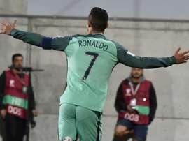 Le Portugais Cristiano Ronaldo après son but contre Andorre. AFP