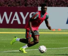 L'attaquant du Bayern Munich, Alphonso Davies, à lentraînement à Doha. AFP