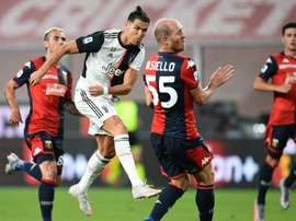 Cristiano Ronaldo marcou um dos gols da vitória por 3 a 1 contra o Genoa. AFP