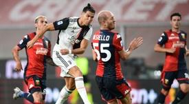 Gran gol de Cristiano ante el Genoa. AFP