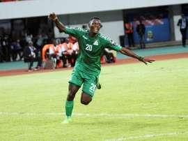 Le Zambien Patson Daka après avoir marqué contre le Sénégal lors la Coupe d'Afrique U20. AFP