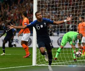 Mbappé contra a Holanda. AFP