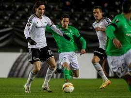 Ole Kristian Selnaes (g) de Rosenborg face à Saint-Etienne, le 26 novembre 2015