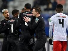 Les joueurs de Guingamp se congratulent après un but contre Nancy. AFP