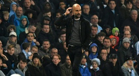 Guardiola claimed the ball in the EFL Cup match against Wolves was 'too light'. AFP