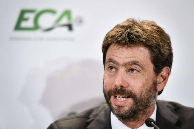 Agnelli spiega la posizione della Juve. AFP