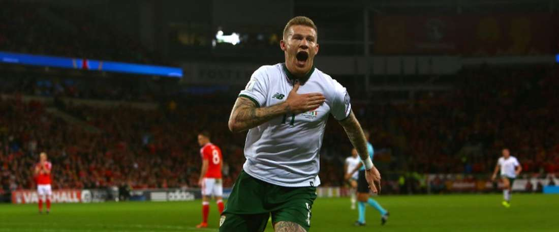 La rage de James McClean buteur pour l'Irlande face au pays de Galles à Cardiff. AFP