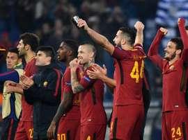 Les joueurs de lAS Roma savourent leur qualification à l'issue de la victoire. AFP