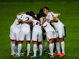 L'équipe de Corée du Nord à Hong Kong pour les éliminatoires de la Coupe dAsie des Nations. AFP
