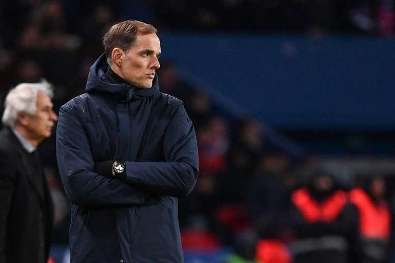 Thomas Tuchel, suit le match contre Nantes, en demi-finales de la Coupe de France. AFP