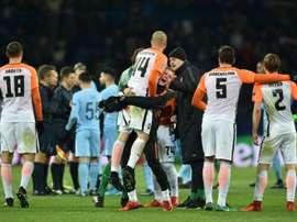 L'explosion de joie des joueurs du Shakhtar, vainqueurs de Manchester City. AFP