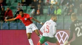 Cible de cris racistes, Marcus Rashford marque contre la Bulgarie au stade Vassil-Levski. AFP