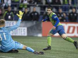 Victor Rodriguez ouvre le score pour Seattle face à Houston, en demi-finale retour de la MLS. AFP