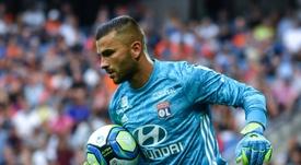 Anthony Lopes en championnat sur le terrain de Montpellier. AFP