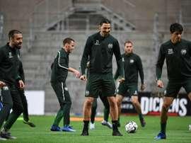 Entre entraînements et rumeurs, la vie (presque) normale d'Ibrahimovic en Suède. AFP