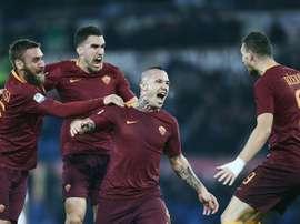 A Roma venceu a Juventus por três bolas a uma. AFP