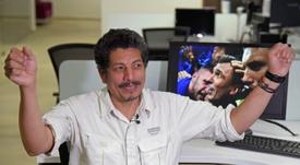 Yuri Cortez, participant involontaire à la célébration par les Croates du but de la victoire. AFP