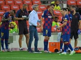 Le groupe du FC Barcelone pour affronter Villarreal. AFP