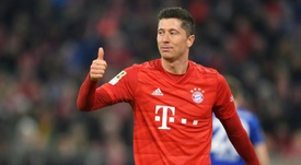 Lewandowski, only eight goals from beating his record. AFP