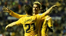 Gameiro et Griezmann lors de la large victoire de l'Atlético. AFP