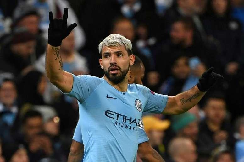 Sergio Aguero scored twice as City thrashed Schalke. AFP