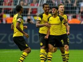 La rage de Mahmoud Dahoud (N.19) après avoir égalisé pour Dortmund contre le RB Leipzig. AFP