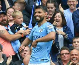 Aguero was in devastating form. AFP
