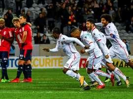 Les Niçois exultent après leur qualification en quart de finale de la Coupe de la Ligue. AFP