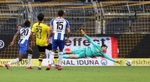 Dortmund conforte sa deuxième place en battant le Hertha. afp