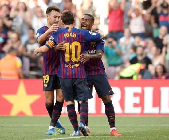 Malcom confirmou a dúvida sobre a recuperação de Messi. AFP