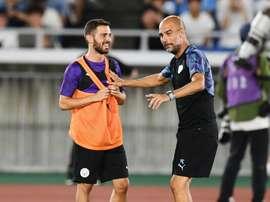 Guardiola pourrait aussi être sanctionné pour la blague de Bernardo Silva à Mendy. AFP