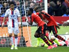 Firmin Mubele inscrit le but égalisateur pour Rennes face à Lyon. AFP