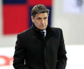 L'entraîneur marseillais Michel à Ajaccio pour le match contre le Gazélec, le 9 mars 2016. AFP