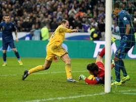 Roman Zozulia sous le maillot de l'Ukraine contre la France. AFP