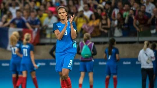La capitaine des Bleues Wendie Renard à l'issue du match perdu face aux Etats-Unis. AFP