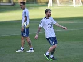 Lionel Messi et Angel di Maria à l'entraînement de l'Argentine à Vespasiano. AFP