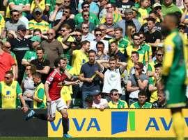 Le milieu de Manchetser United Juan Mata buteur à Norwich en Premier League, le 7 mai 2016